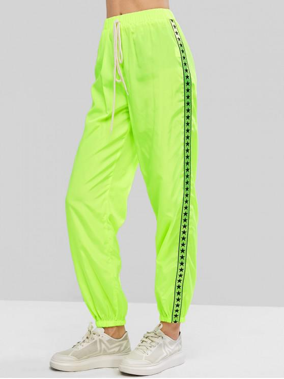 women's ZAFUL Neon Tie Taped Star Graphic Windbreaker Jogger Pants - GREEN YELLOW M