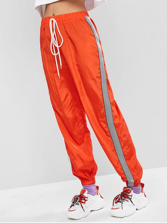 trendy ZAFUL Neon Tie Taped Windbreaker Jogger Pants - BASKET BALL ORANGE S