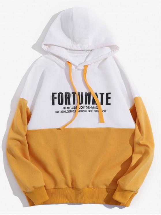 affordable Fortunate Graphic Drop Shoulder Drawstring Hoodie - SUN YELLOW 2XL