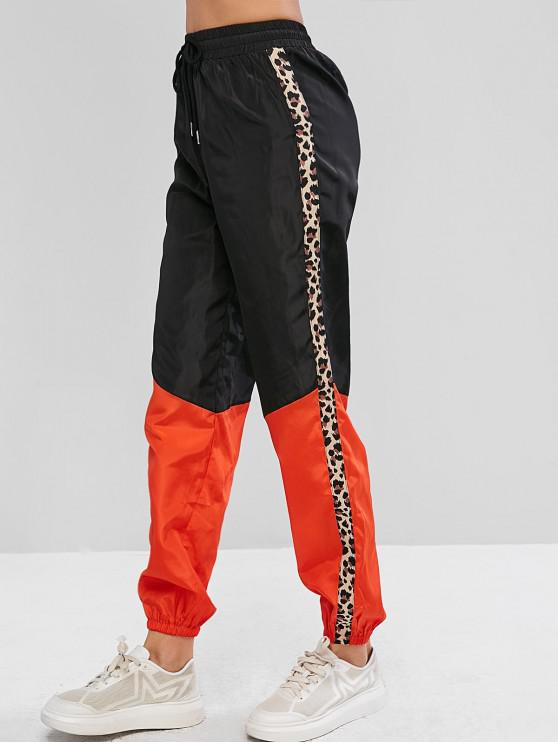 outfits ZAFUL Leopard Trim Two Tone Windbreaker Jogger Pants - BLACK S