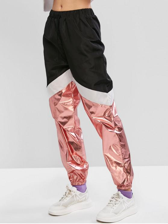 ZAFUL Color metálico de bloqueo de cordón rompevientos basculador Pantalones - Negro XL