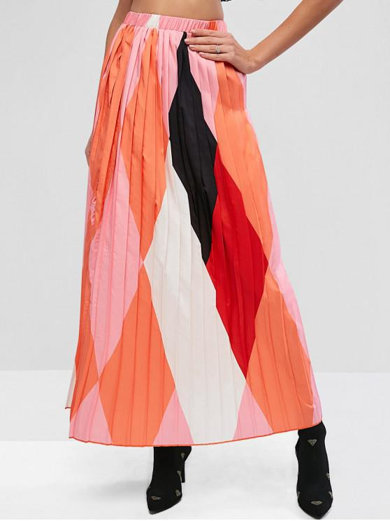 shops ZAFUL Color-blocking Pleated High Waisted Long Skirt - MULTI-A M