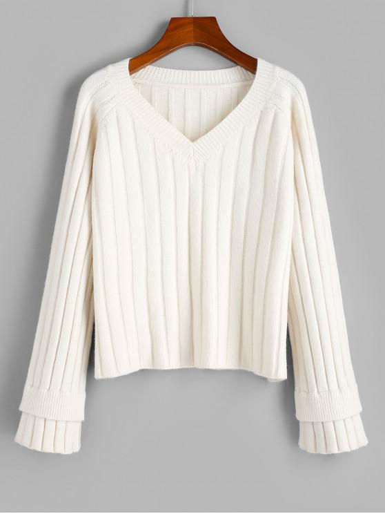 ZAFUL en capas elástico en canalé raglán de la manga del suéter - Blanco Cálido L