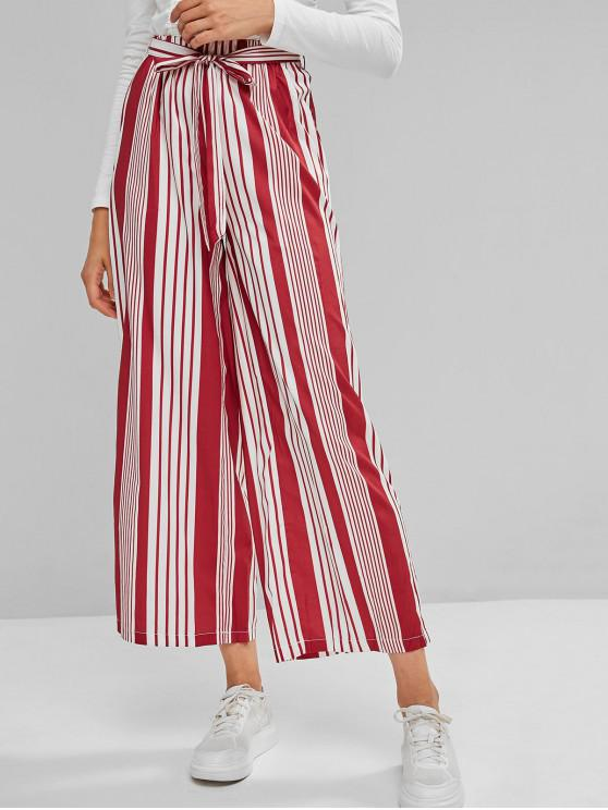 fashion Striped Belted Palazzo Pants - RED S
