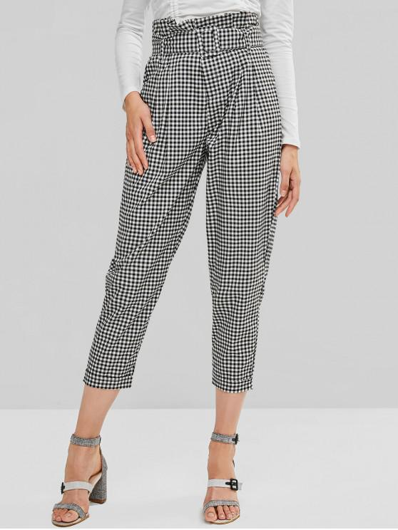 women Gingham Belted Zipper Fly Paperbag Pants - MULTI-A S