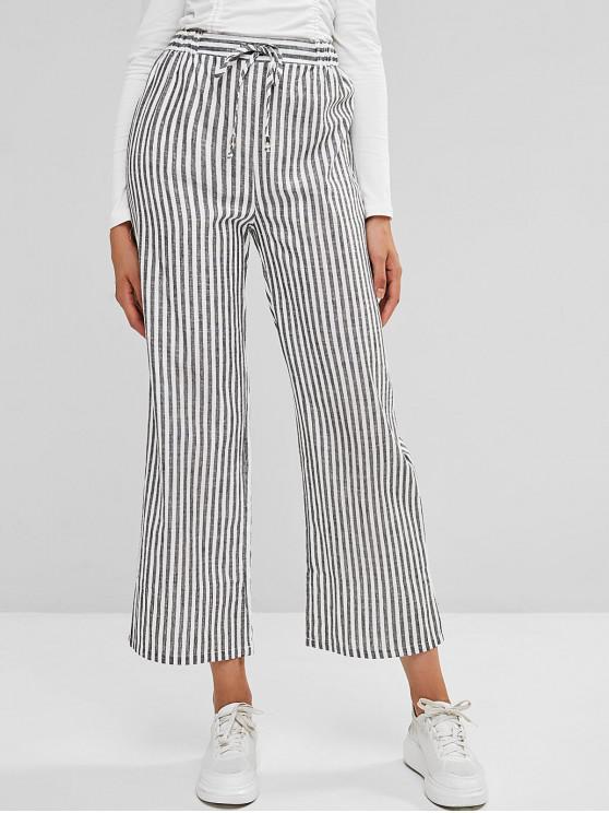 new Striped High Waist Drawstring Wide Leg Pants - MULTI-A M