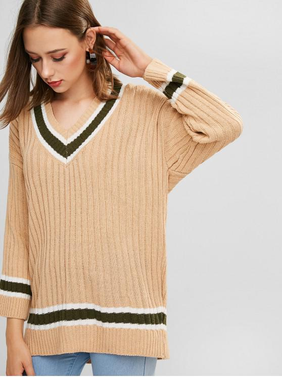 hot Drop Shoulder V Neck Cricket Tunic Sweater - LIGHT KHAKI ONE SIZE