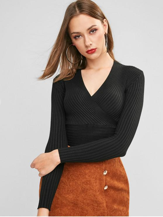 outfits Slim Ribbed Surplice Sweater - BLACK ONE SIZE
