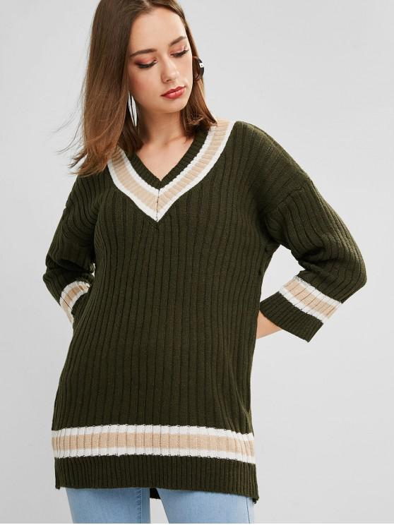 unique Drop Shoulder V Neck Cricket Tunic Sweater - DARK GREEN ONE SIZE