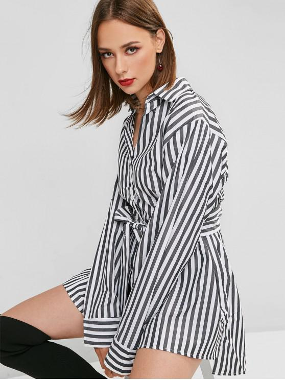 lady Striped Belted High Low Longline Shirt - MULTI M