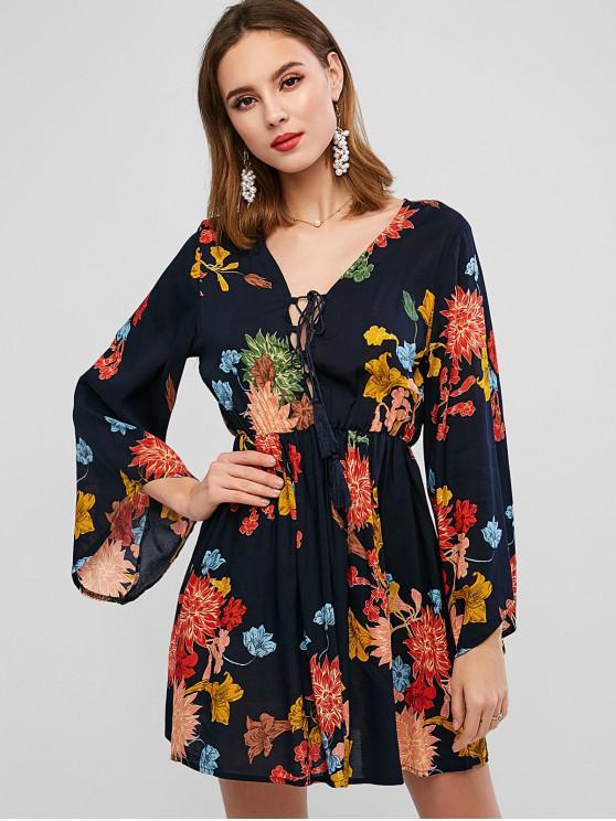 Hasta vestido de la borla de la manga de la llamarada ZAFUL estampado de flores de encaje - Multicolor-A XL