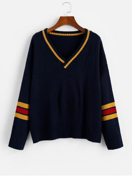new ZAFUL Striped Panel Drop Shoulder Cricket Sweater - MULTI S