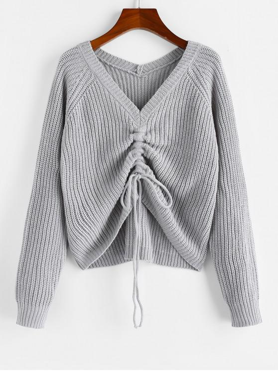 shop ZAFUL V Neck Shirred Ribbed High Low Sweater - GRAY GOOSE S