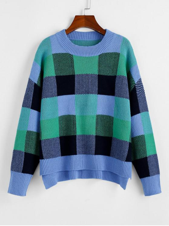 new ZAFUL Plaid Drop Shoulder Slit High Low Sweater - MULTI S