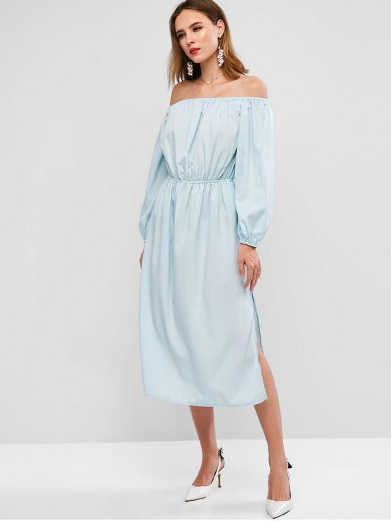 buy ZAFUL Off Shoulder Midi Slit Plain Dress - LIGHT BLUE XL
