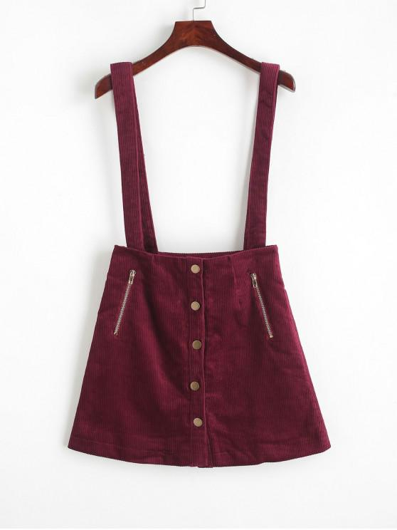 lady Button Up Zippered Corduroy Suspenders Skirt - RED WINE L