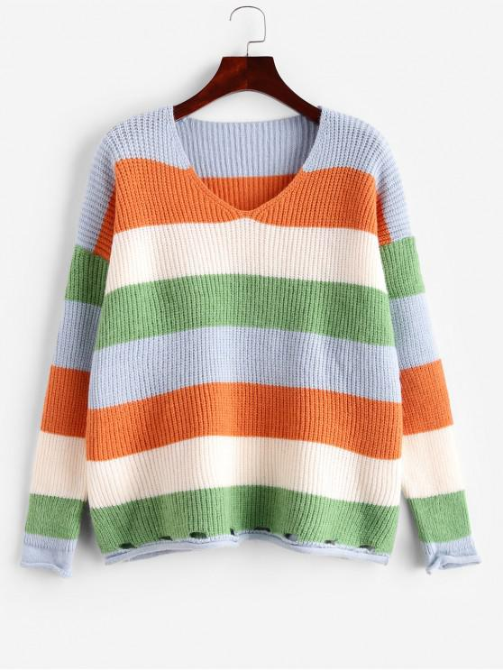 sale Colorblock Striped Roll Trim Slit Ripped Sweater - MULTI-A ONE SIZE