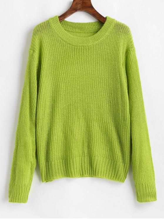 unique Loose Plain Crew Neck Pullover Sweater - CHARTREUSE