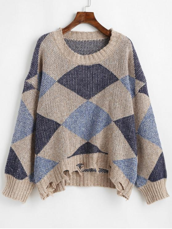 sale Drop Shoulder Geometric Graphic Distressed Sweater - MULTI ONE SIZE