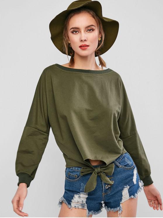 ZAFUL Sweat-Shirt Noué Chauve-souris à Goutte Epaule - Vert Armée  XL