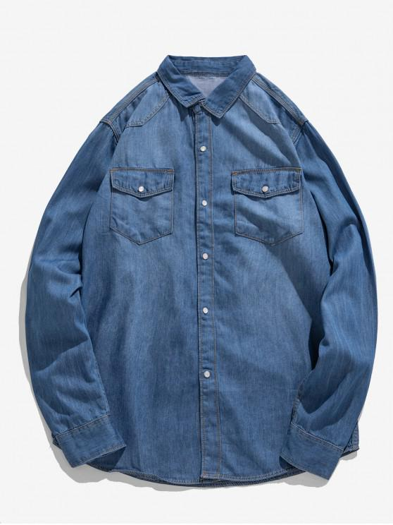latest Solid Chest Pocket Curved Hem Button Basic Jean Shirt - LIGHT BLUE XS
