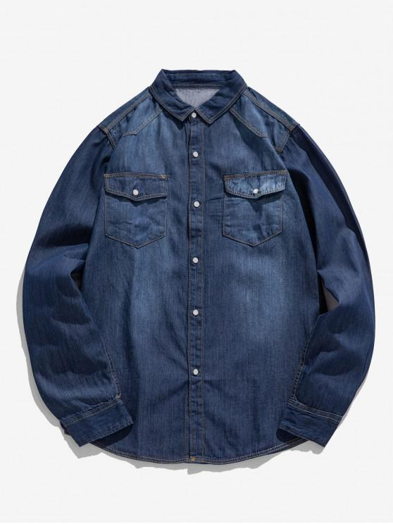 fashion Solid Chest Pocket Curved Hem Button Basic Jean Shirt - DEEP BLUE XS