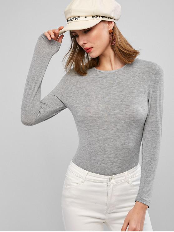 ladies Long Sleeve Marl Snap Button Bodysuit - DARK GRAY L