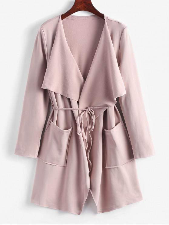 latest Belted Skirted Patched Pockets Waterfall Coat - PINK XL