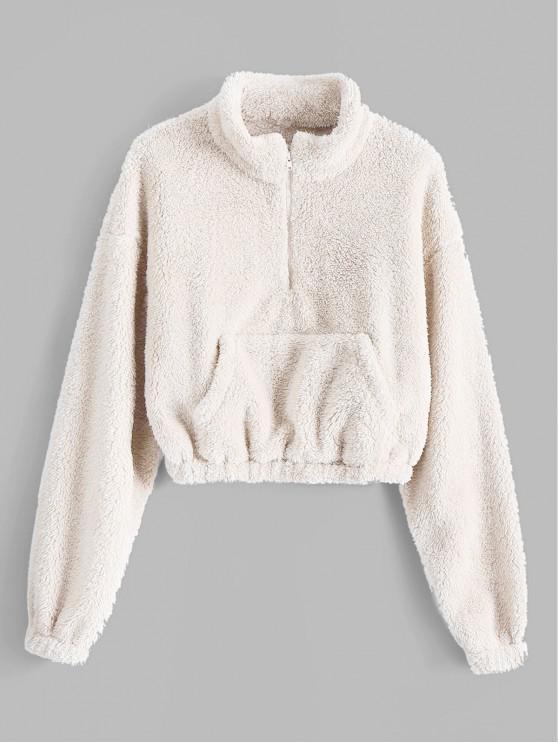 women's ZAFUL x Alexis Ricecakes Front Pocket Solid Crop Faux Fur Sweatshirt - WHITE L