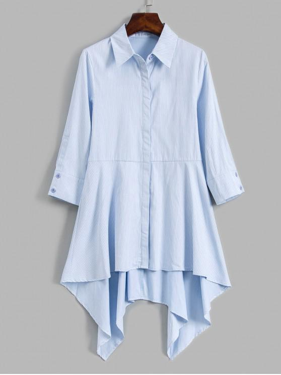 fancy Striped Button Up High Low Shirt - LIGHT BLUE L