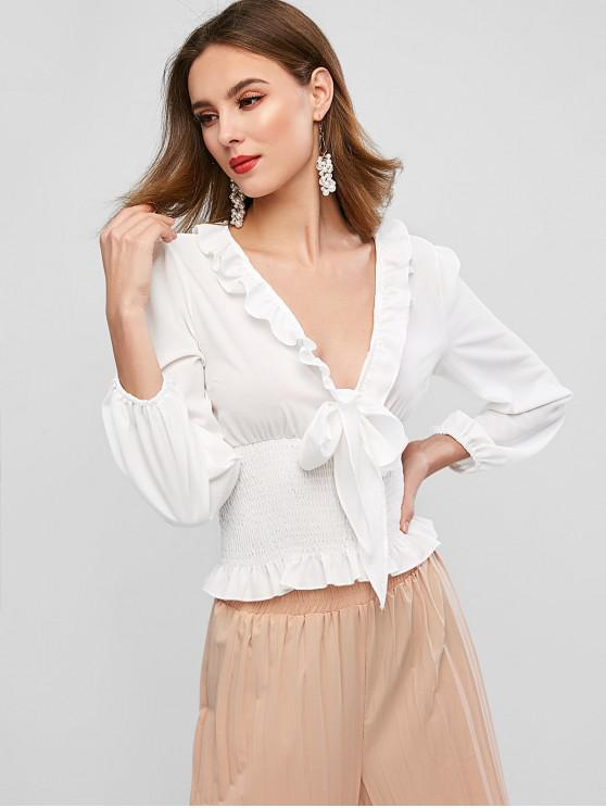 sale Plunge Tie Ruffled Smocked Frilled Blouse - WHITE S