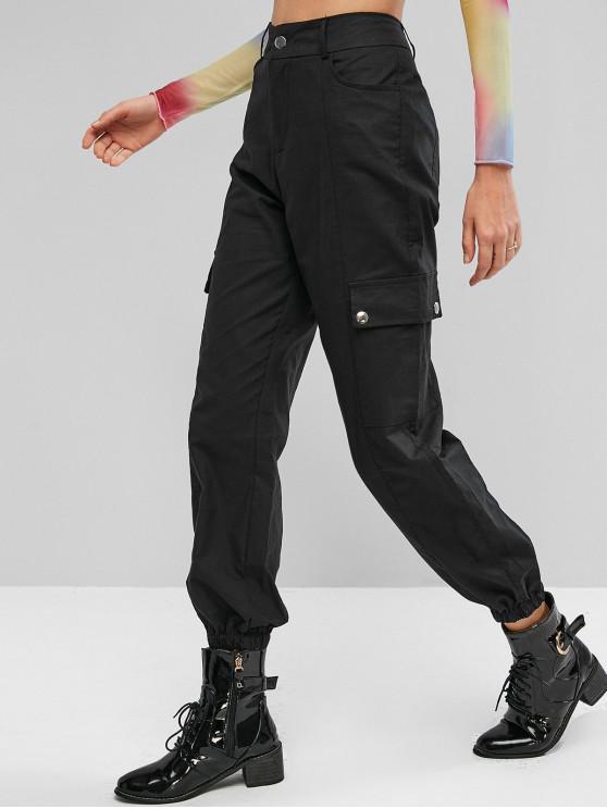 Klappentaschen Jogger Hosen mit Hoher Taille - Schwarz M