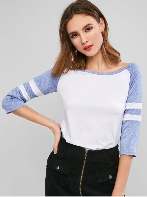 fancy Stripes Panel Heathered Off Shoulder Tee - WHITE XL