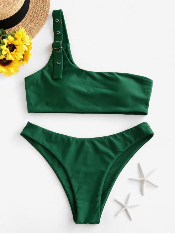 hot ZAFUL Buckle One Shoulder Padded Bikini Swimsuit - MEDIUM SEA GREEN M