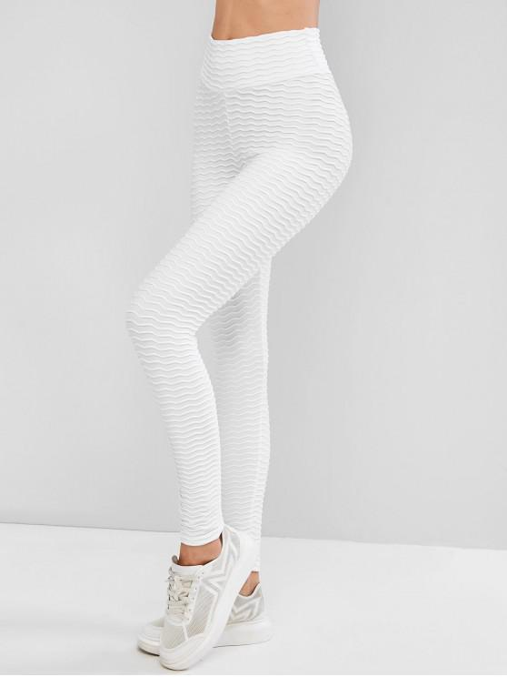 hot Scrunch Butt Textured Solid Sports Leggings - WHITE L