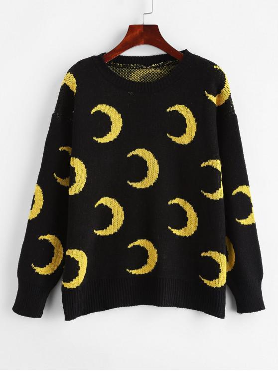 new Crew Neck Drop Shoulder Crescent Moon Sweater - BLACK ONE SIZE