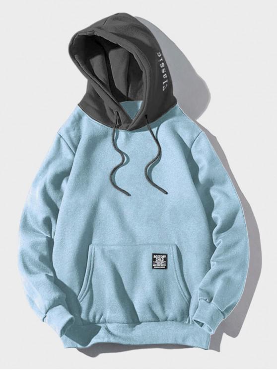 Sudadera con capucha y bolsillo de felpa con detalle de parche de color que bloquea el color - Celeste Ligero XL