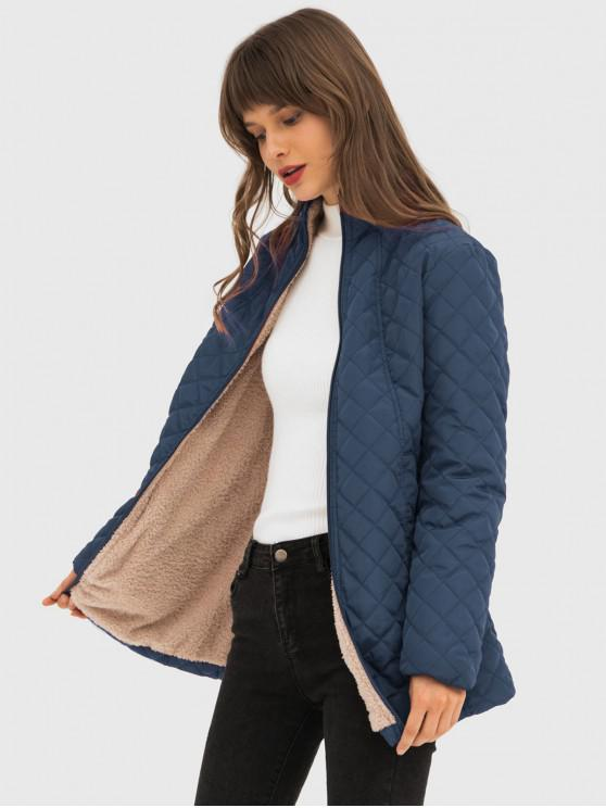 chic Quilted Zip Up Longline Coat - BLUE 3XL