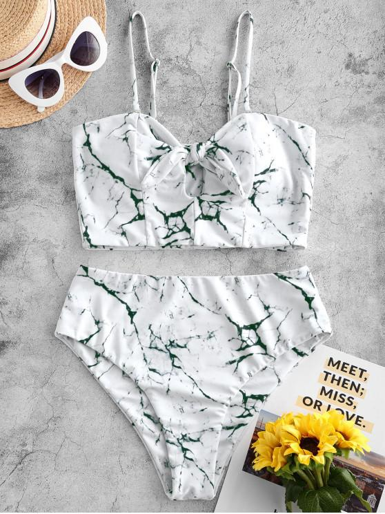 shops ZAFUL Marble Tied Keyhole High Waisted Tankini Swimsuit - MULTI-A M