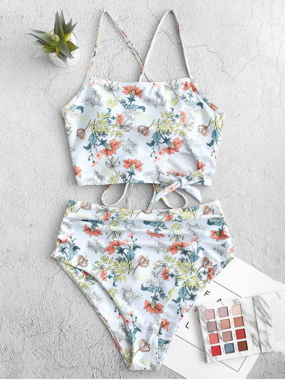 unique ZAFUL Plant Print Lace-up Cutout Ruched Tankini Swimsuit - CORAL BLUE S