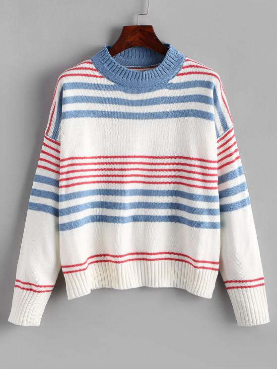 lady Drop Shoulder Striped Crew Neck Sweater - MULTI-A ONE SIZE