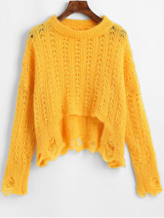 ladies ZAFUL X Luna Montana Ripped Stepped Hem Open Knit Solid Sweater - YELLOW ONE SIZE