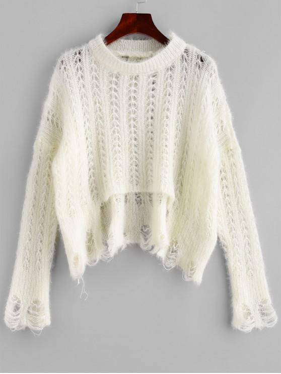 best ZAFUL X Luna Montana Ripped Stepped Hem Open Knit Solid Sweater - WHITE ONE SIZE