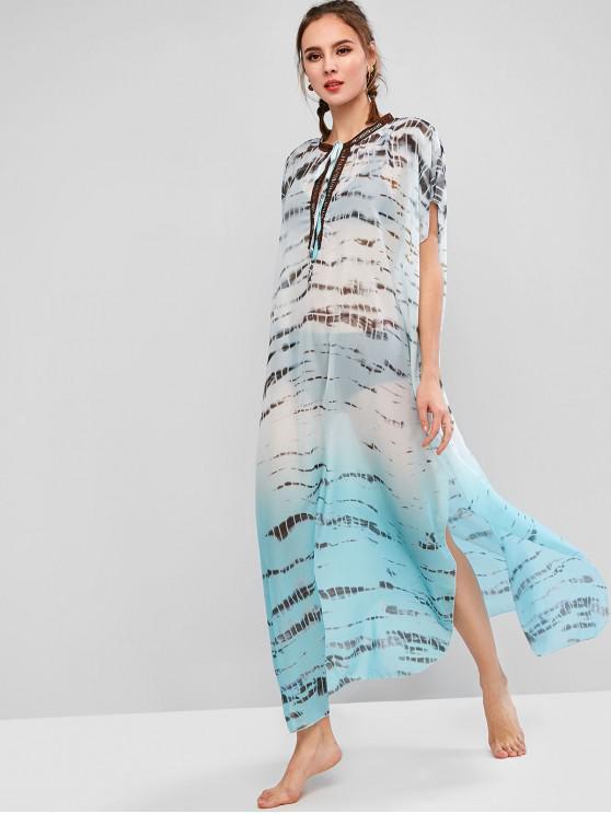 ladies Tie Dye Slit Maxi Beach Kaftan Dress - MACAW BLUE GREEN 2XL