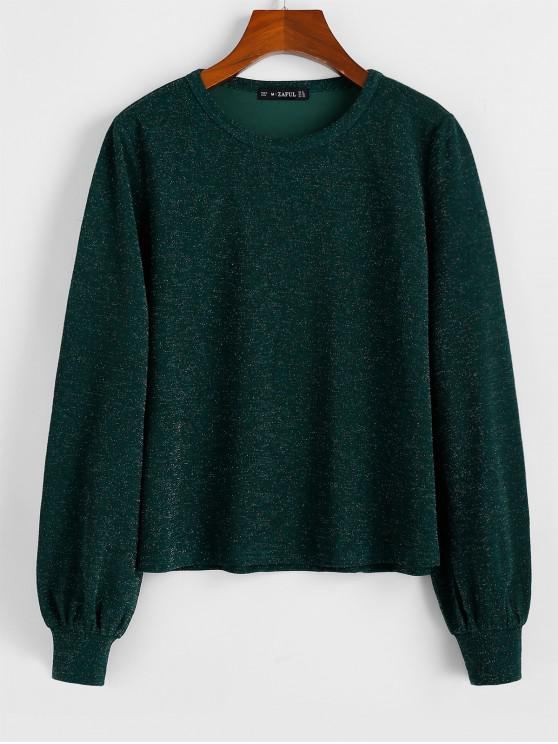 new ZAFUL Long Sleeve Glittery Top - MEDIUM SEA GREEN S