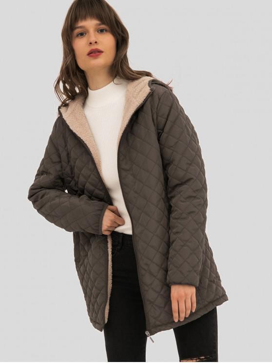 buy Hooded Fleece Lining Longline Coat - COFFEE 3XL