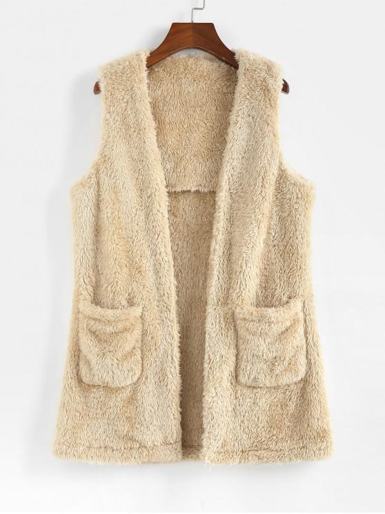 fashion ZAFUL Open Front Pockets Faux Fur Waistcoat - BEIGE XL