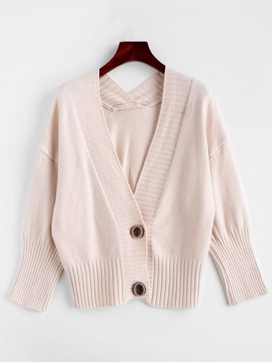 unique Plain Knitted Long Sleeve Cardigan - WHITE ONE SIZE