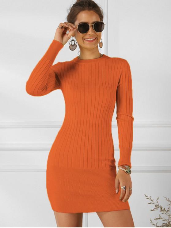 Одноцветное Рубчатое Облегающее Платье - Оранжевый S