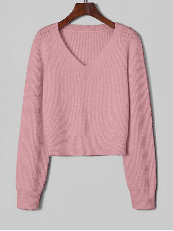 women ZAFUL Fuzzy V Neck Fluffy Knit Sweater - PINK ROSE M